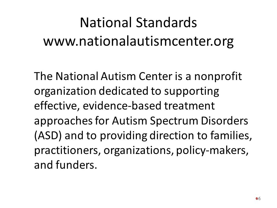 National Standards www.nationalautismcenter.org