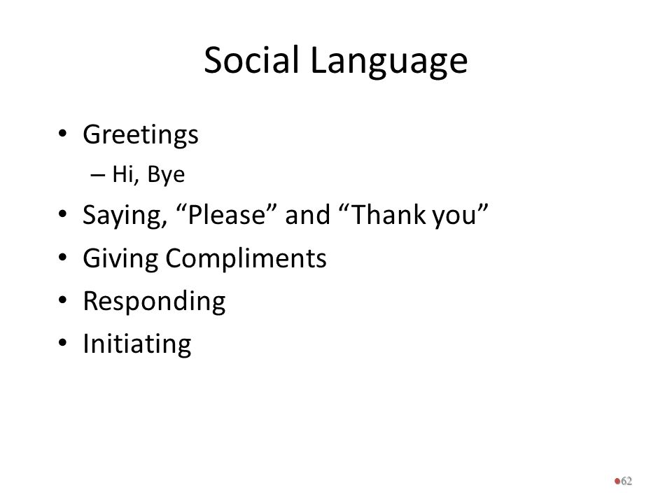Social Language Greetings Saying, Please and Thank you