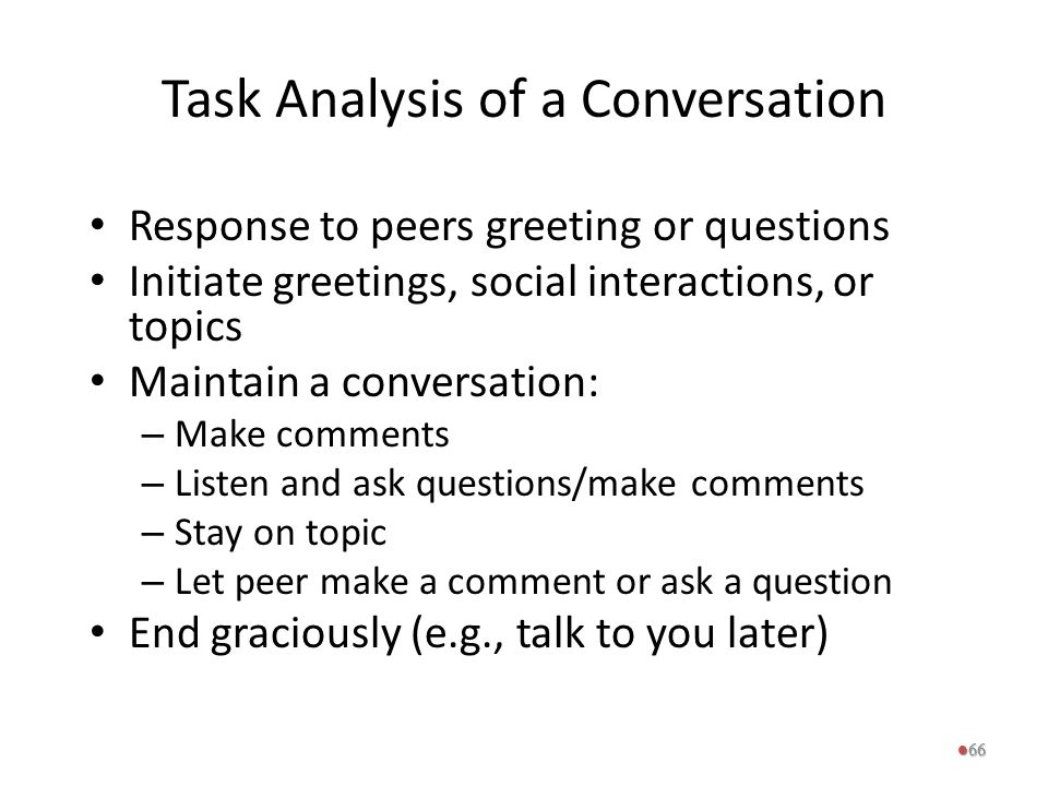Task Analysis of a Conversation
