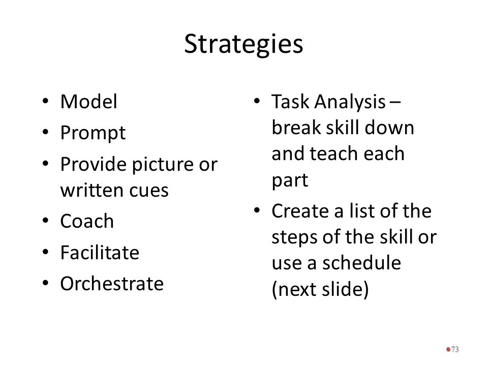 Strategies Model Prompt Provide picture or written cues Coach