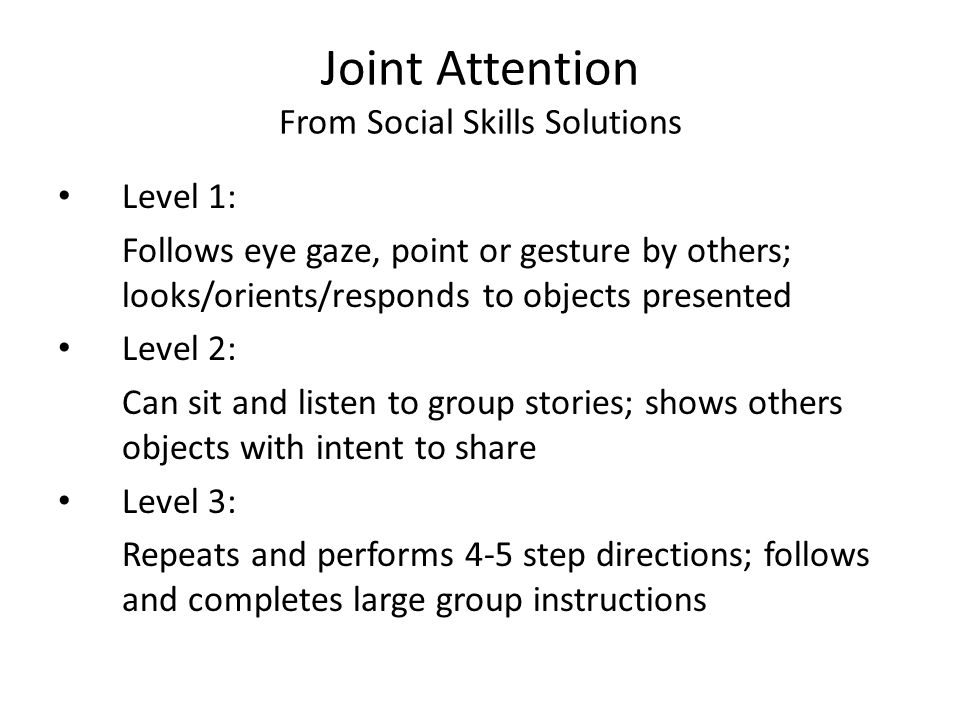 Joint Attention From Social Skills Solutions