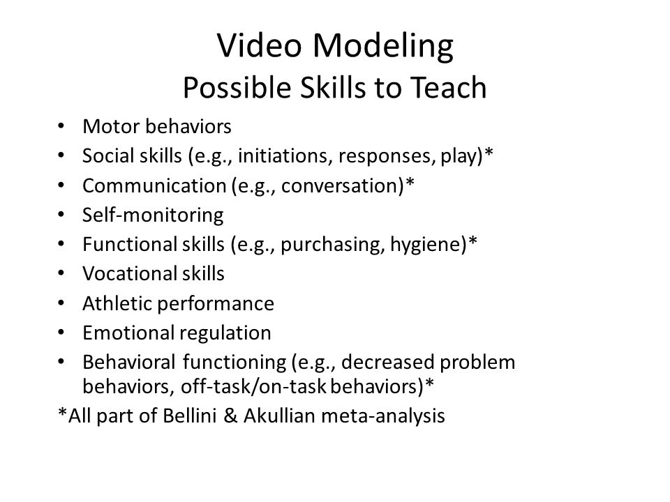Video Modeling Possible Skills to Teach