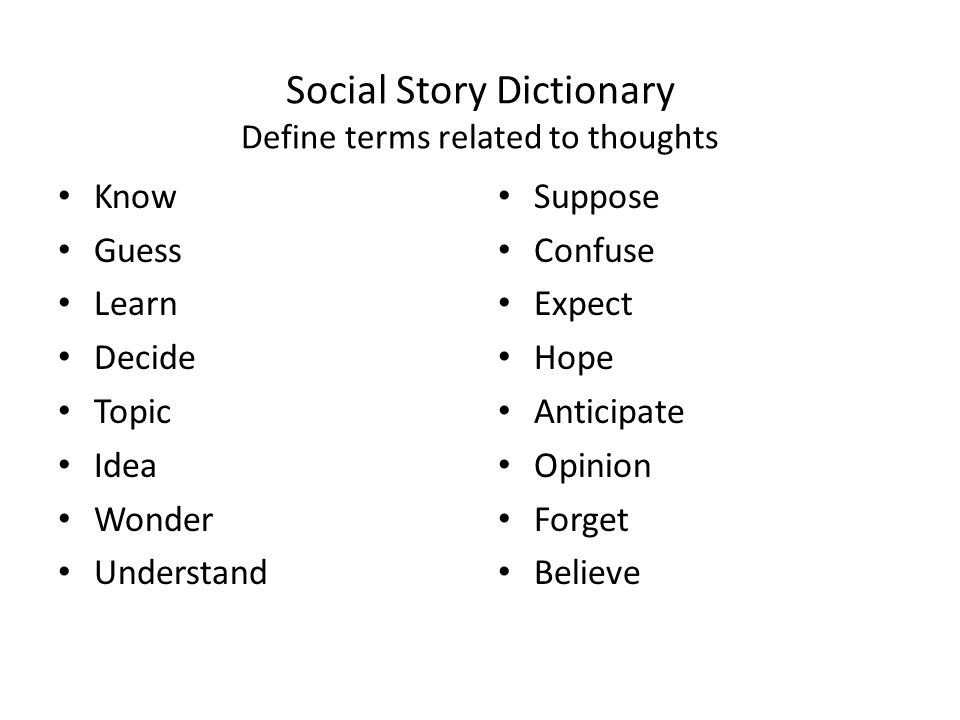Social Story Dictionary Define terms related to thoughts