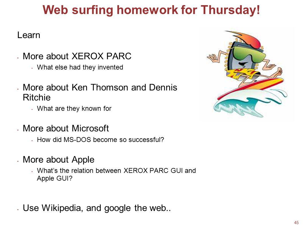 Web surfing homework for Thursday!