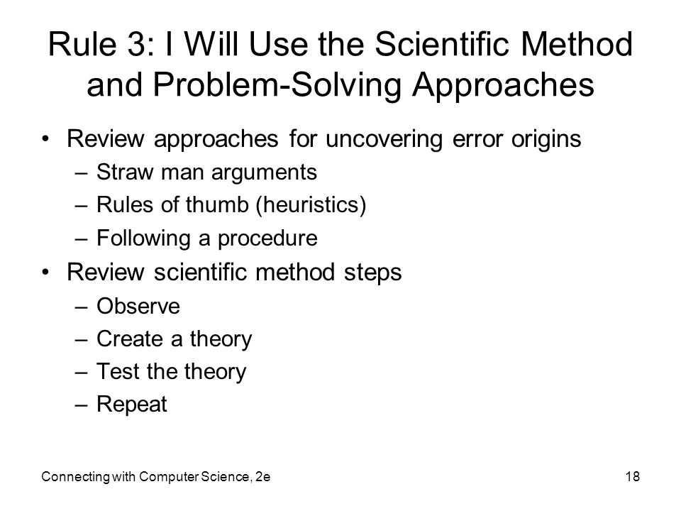Rule 3: I Will Use the Scientific Method and Problem-Solving Approaches