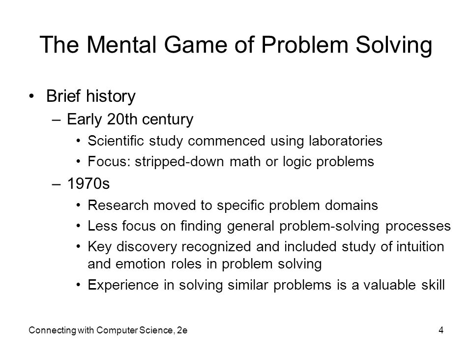 The Mental Game of Problem Solving