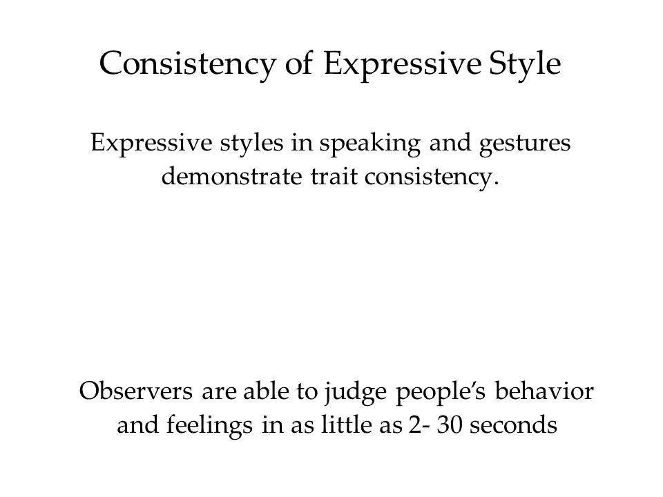 Consistency of Expressive Style