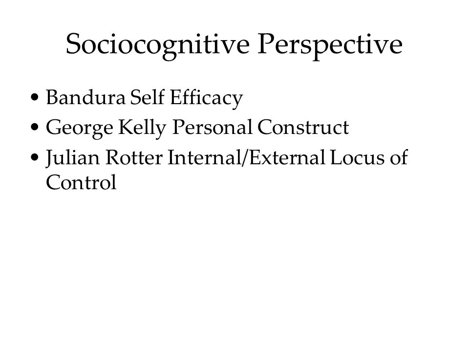 Sociocognitive Perspective