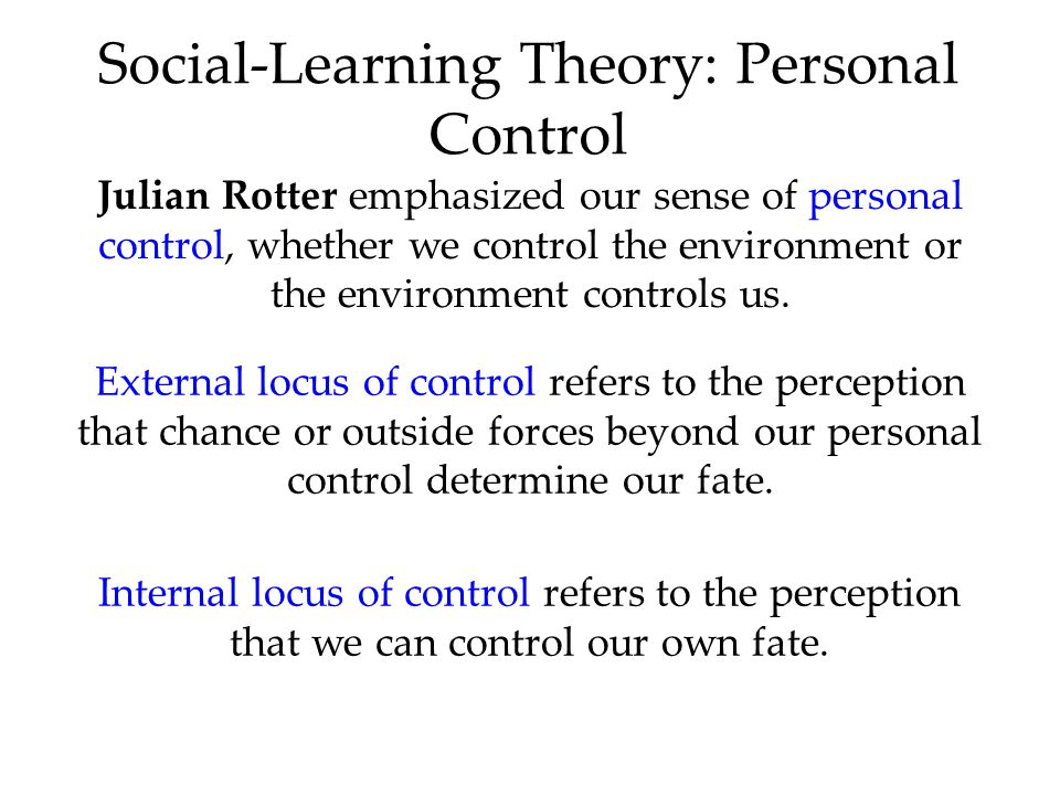 Social-Learning Theory: Personal Control