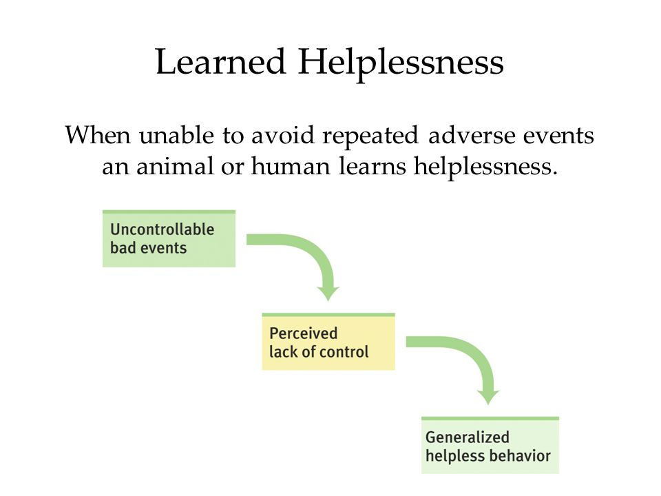 Learned Helplessness When unable to avoid repeated adverse events an animal or human learns helplessness.