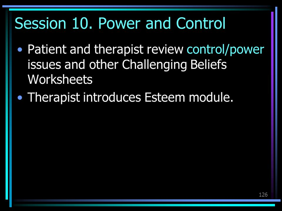 Session 10. Power and Control