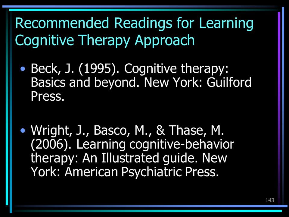 Recommended Readings for Learning Cognitive Therapy Approach