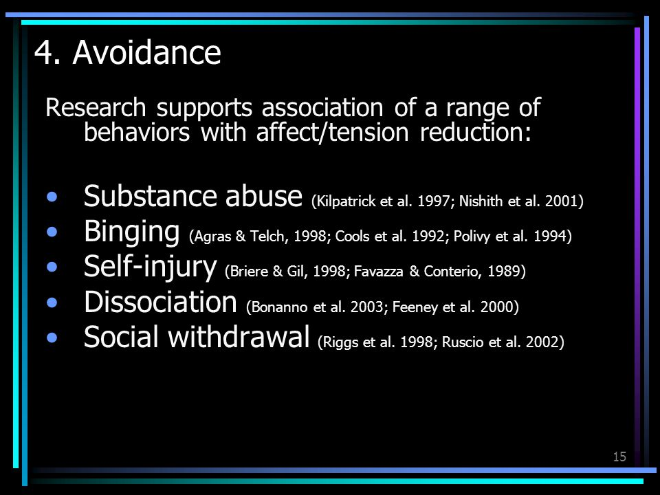4. Avoidance Research supports association of a range of behaviors with affect/tension reduction: