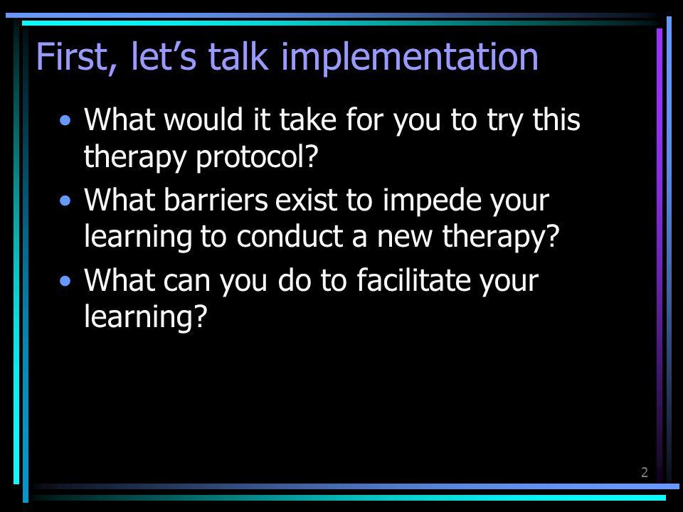 First, let's talk implementation