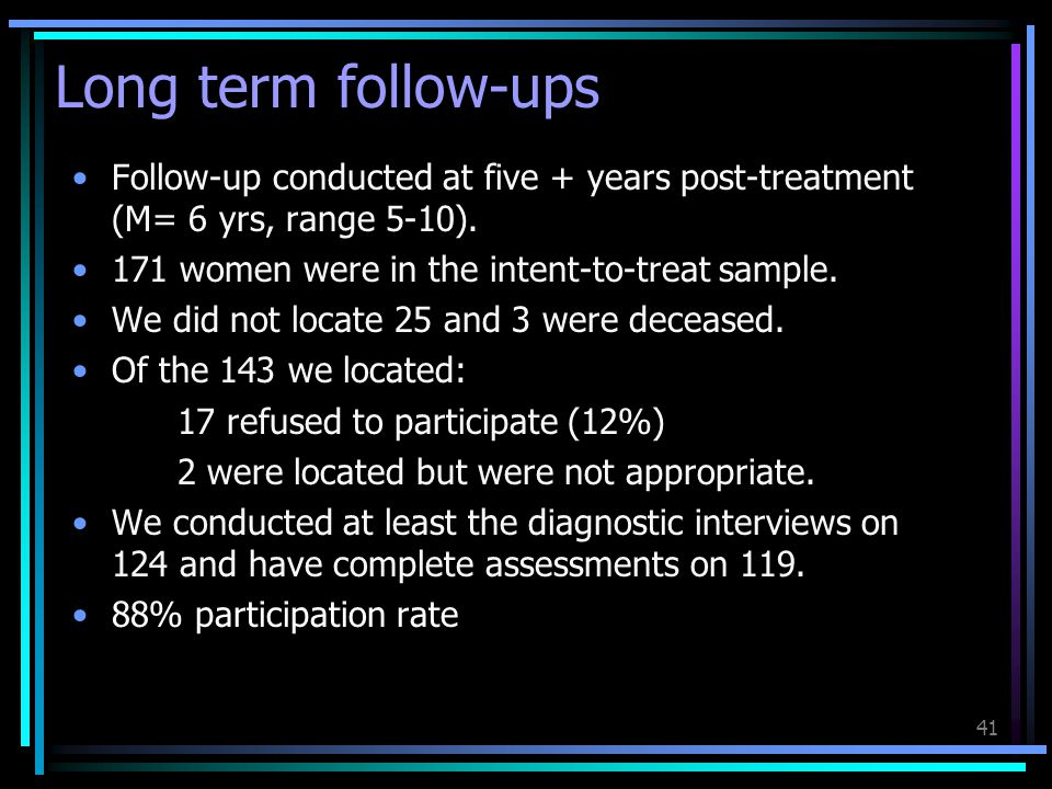 Long term follow-ups Follow-up conducted at five + years post-treatment (M= 6 yrs, range 5-10). 171 women were in the intent-to-treat sample.
