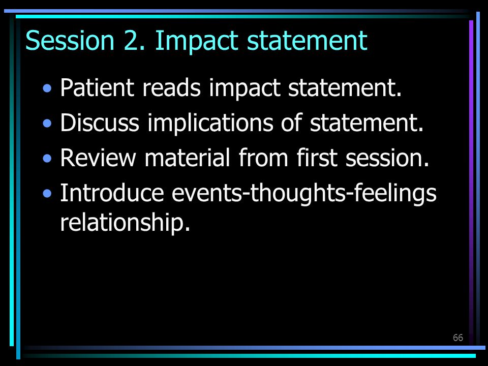 Session 2. Impact statement