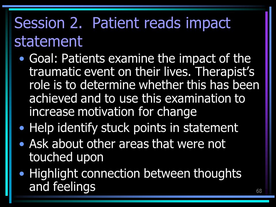 Session 2. Patient reads impact statement