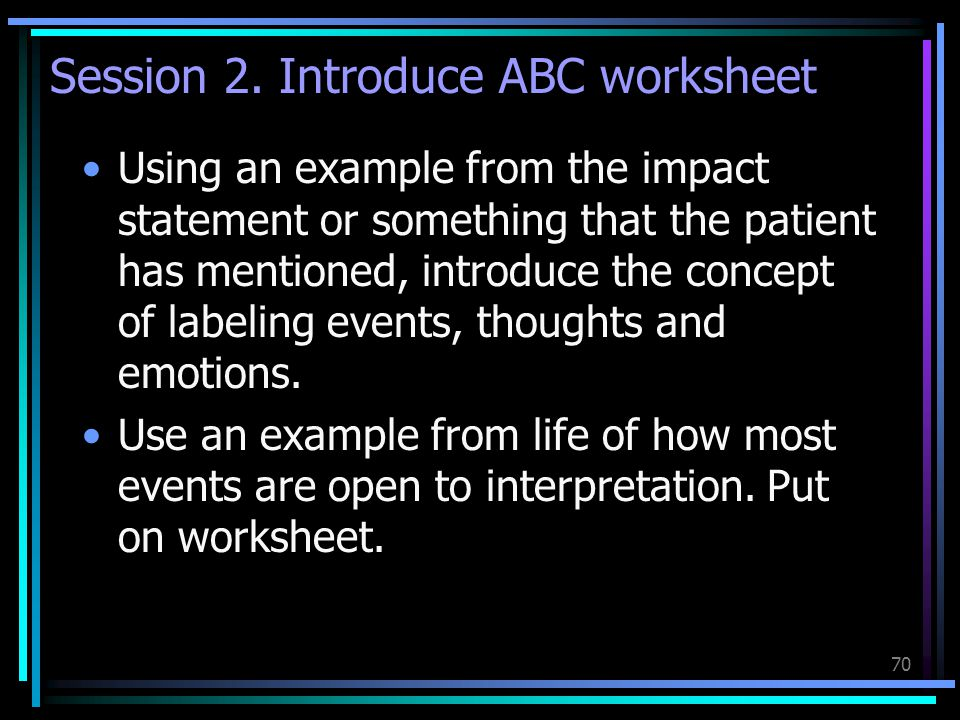 Session 2. Introduce ABC worksheet