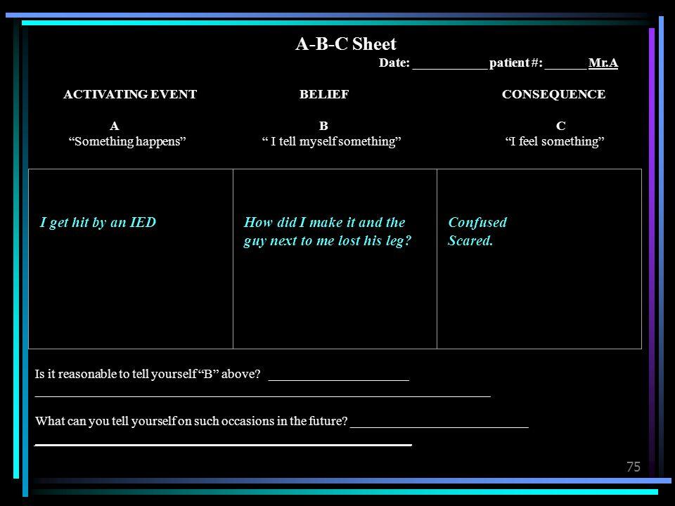 A-B-C Sheet Date: ___________ patient #: ______ Mr.A