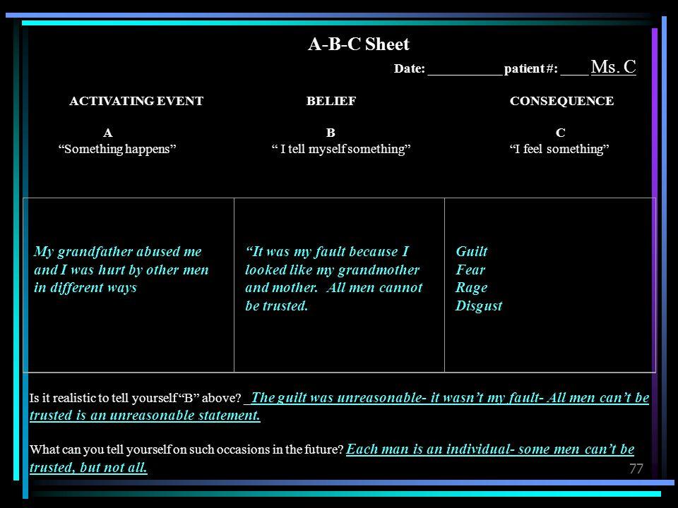 A-B-C Sheet Date: ___________ patient #: ____ Ms. C
