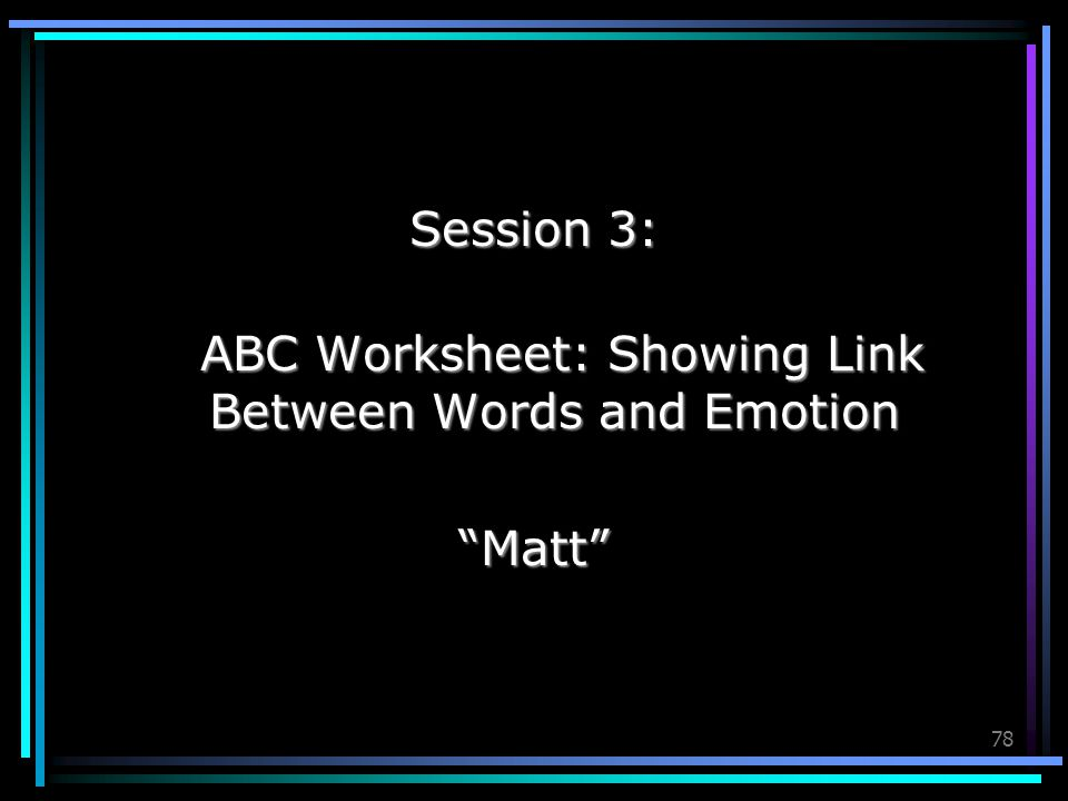 ABC Worksheet: Showing Link Between Words and Emotion