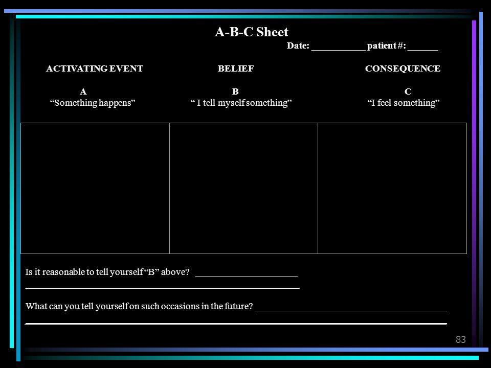 A-B-C Sheet Date: ___________ patient #: ______