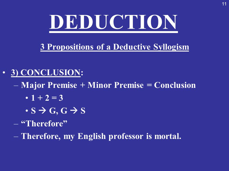 3 Propositions of a Deductive Syllogism