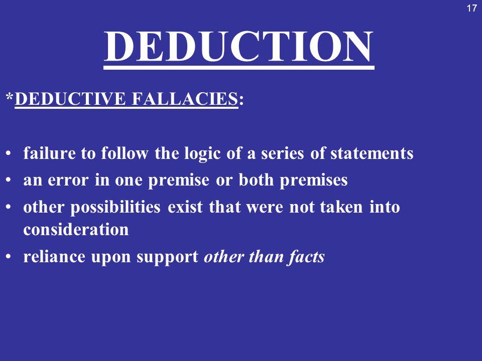 DEDUCTION *DEDUCTIVE FALLACIES: