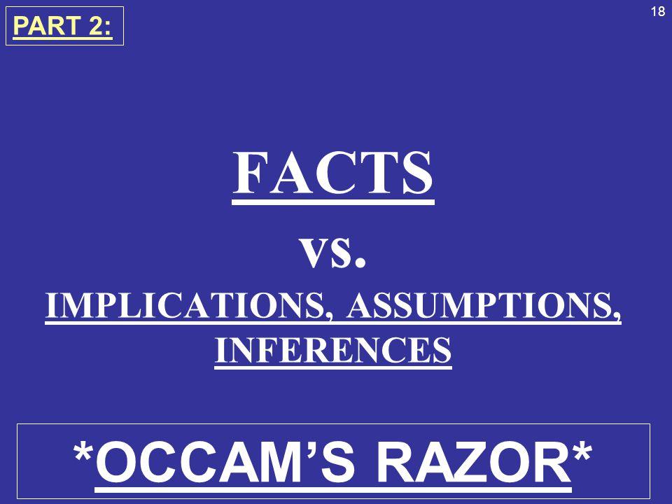 FACTS vs. IMPLICATIONS, ASSUMPTIONS, INFERENCES