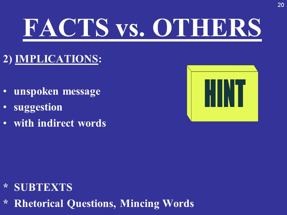FACTS vs. OTHERS 2) IMPLICATIONS: unspoken message suggestion