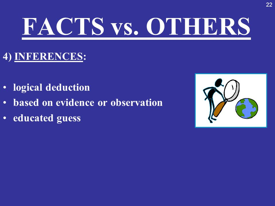 FACTS vs. OTHERS 4) INFERENCES: logical deduction