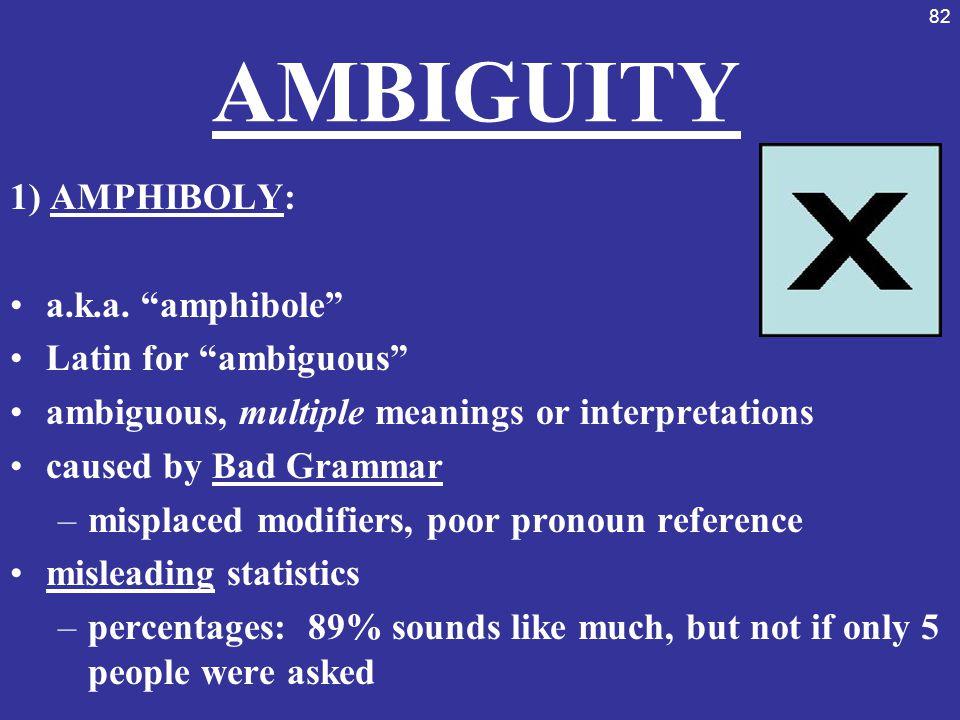 AMBIGUITY 1) AMPHIBOLY: a.k.a. amphibole Latin for ambiguous