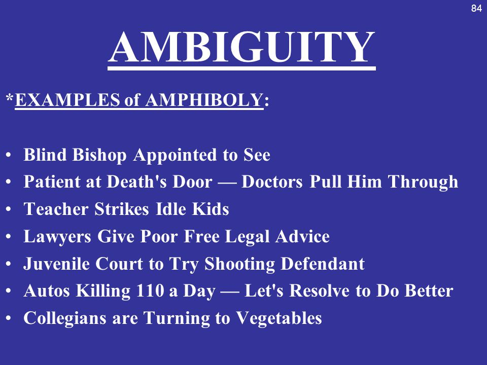 AMBIGUITY *EXAMPLES of AMPHIBOLY: Blind Bishop Appointed to See