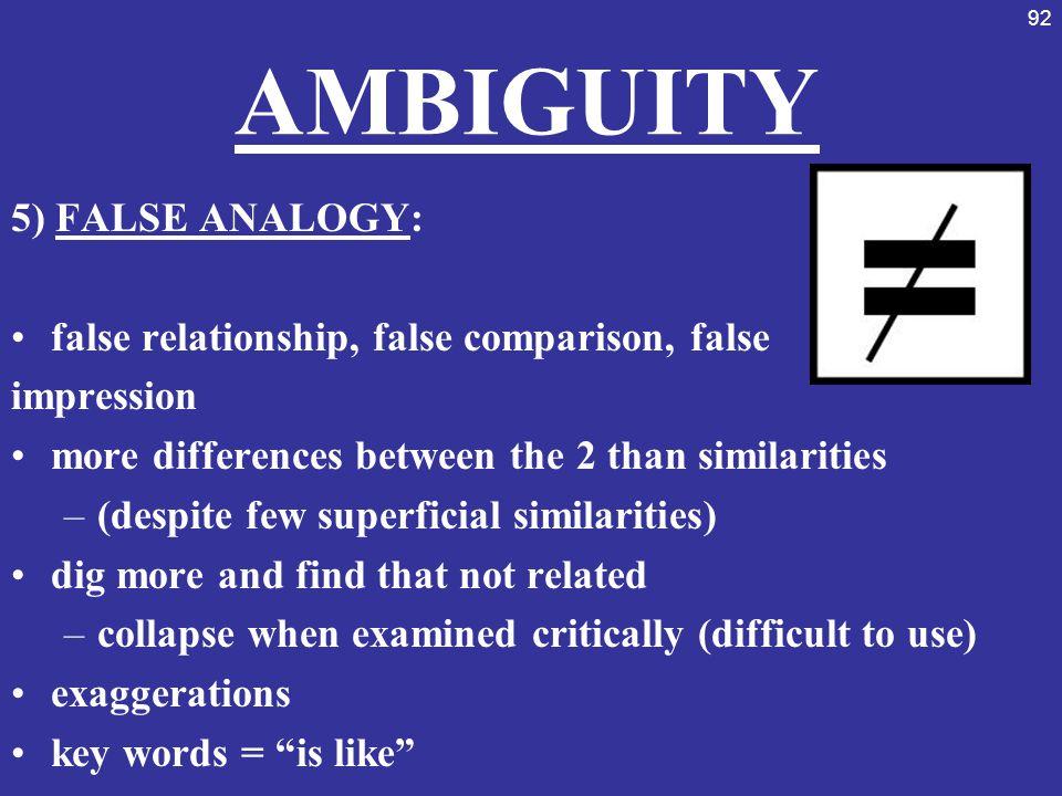 AMBIGUITY 5) FALSE ANALOGY:
