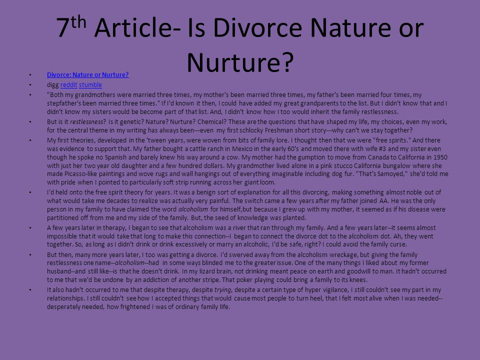 7th Article- Is Divorce Nature or Nurture