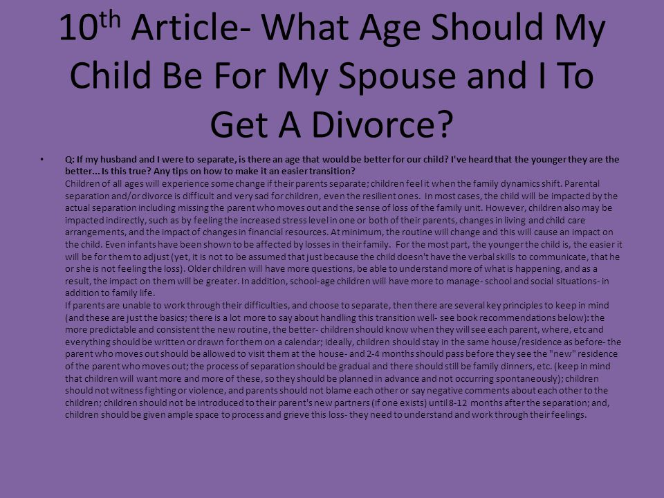 10th Article- What Age Should My Child Be For My Spouse and I To Get A Divorce