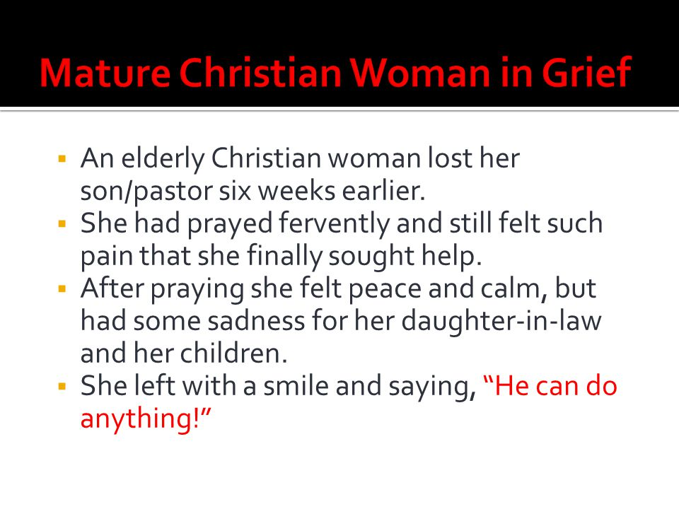 Mature Christian Woman in Grief