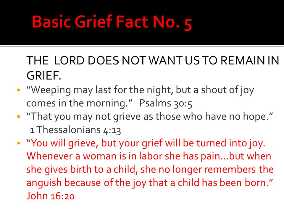 Basic Grief Fact No. 5 THE LORD DOES NOT WANT US TO REMAIN IN GRIEF.