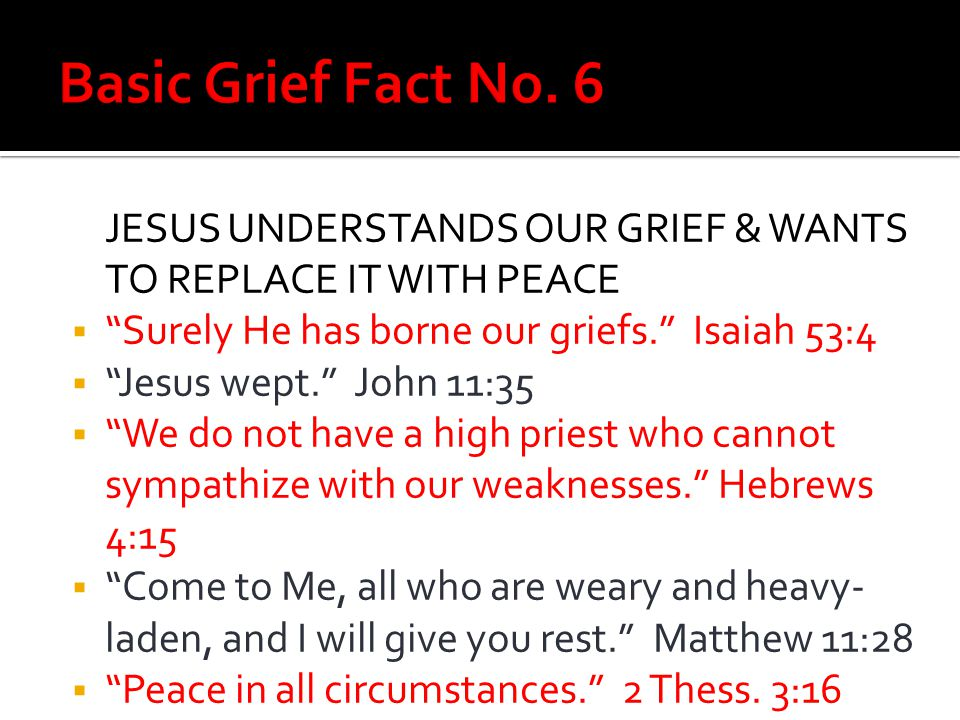 Basic Grief Fact No. 6 JESUS UNDERSTANDS OUR GRIEF & WANTS TO REPLACE IT WITH PEACE. Surely He has borne our griefs. Isaiah 53:4.