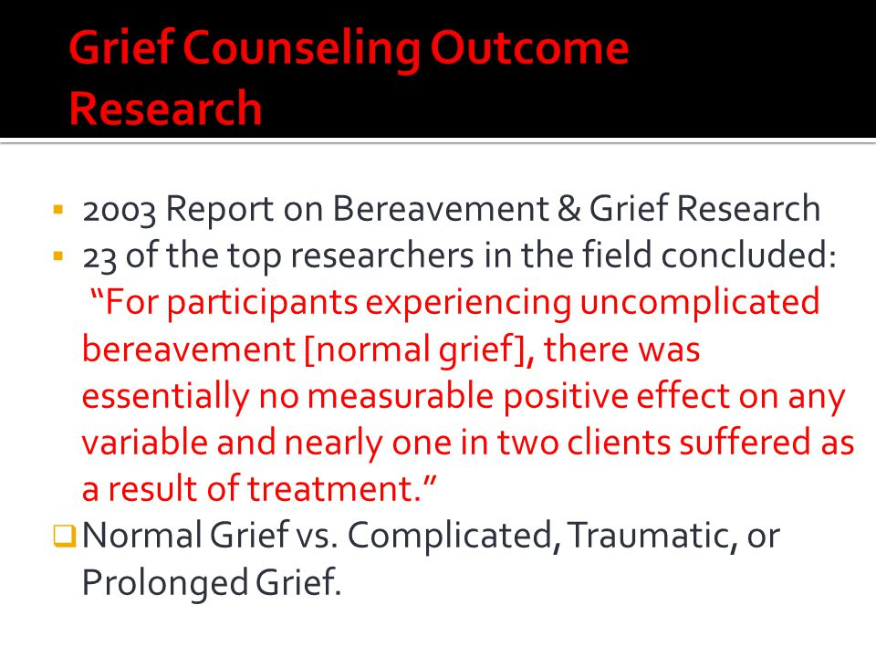 Grief Counseling Outcome Research