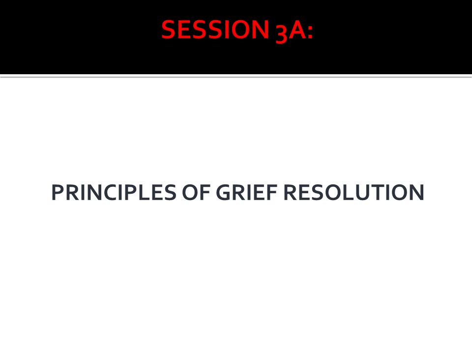 SESSION 3A: PRINCIPLES OF GRIEF RESOLUTION