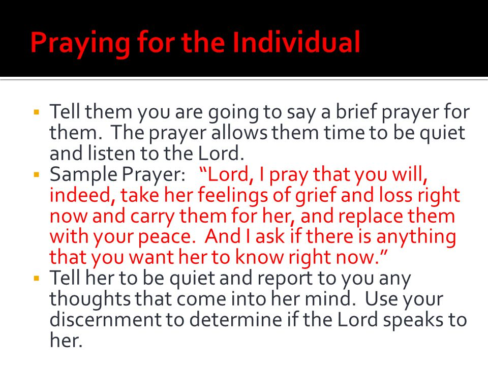 Praying for the Individual