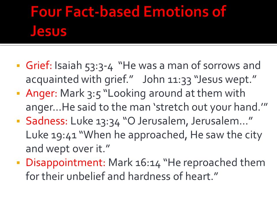 Four Fact-based Emotions of Jesus