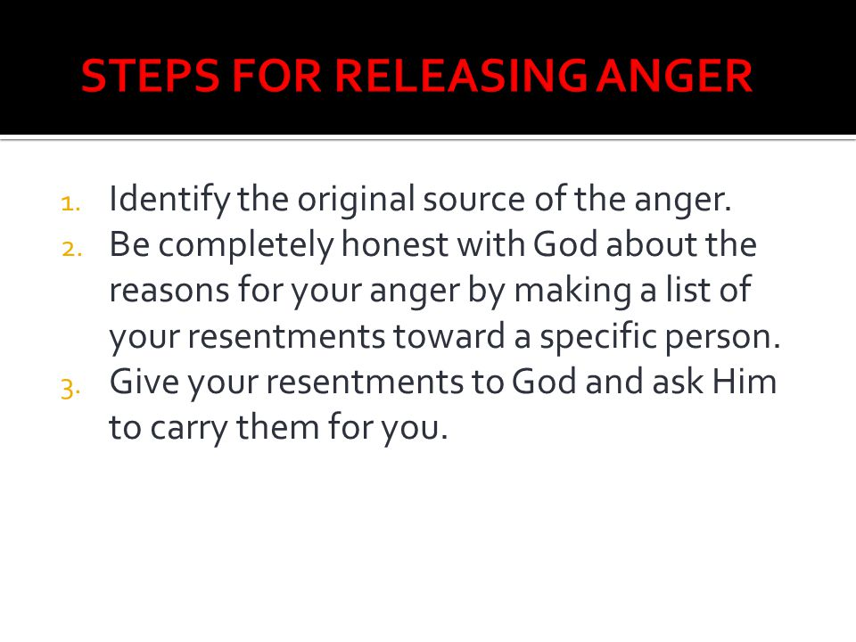 STEPS FOR RELEASING ANGER