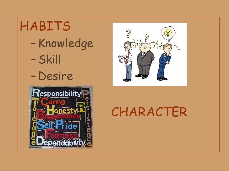 HABITS CHARACTER Knowledge Skill Desire CHARACTER