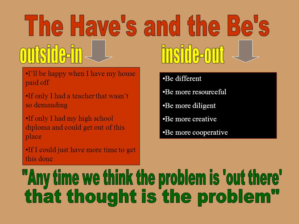 The Have s and the Be s outside-in inside-out