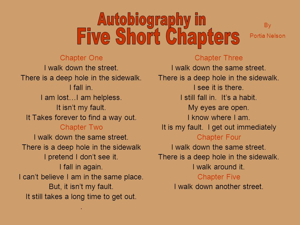 Five Short Chapters Autobiography in Chapter One