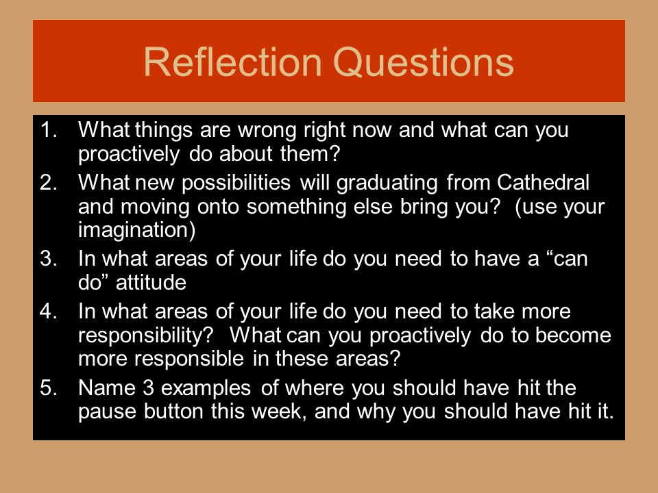 Reflection Questions 1. What things are wrong right now and what can you proactively do about them