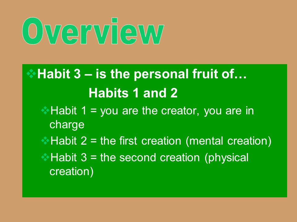 Overview Habit 3 – is the personal fruit of… Habits 1 and 2
