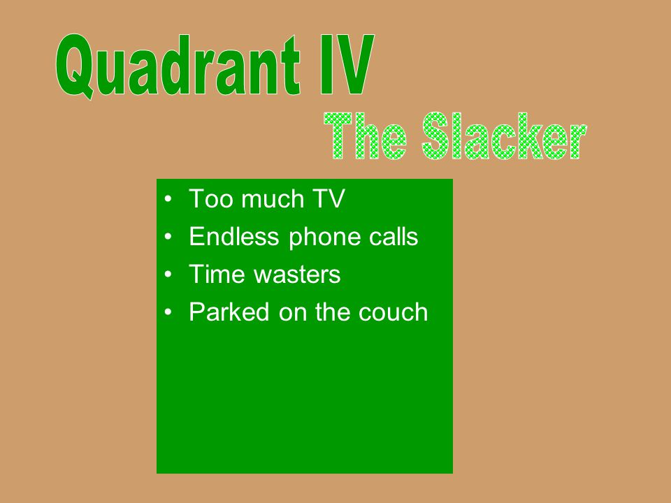 Quadrant IV The Slacker Too much TV Endless phone calls Time wasters